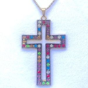 Multicolor Large Cross Necklace NWT